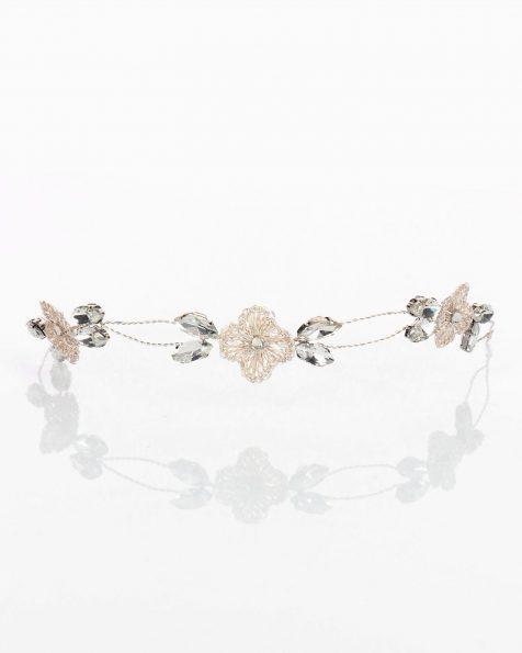 Toucado joia de noiva de prata. Com flores e cristais. Coleção ROSA CLARA COUTURE 2020.