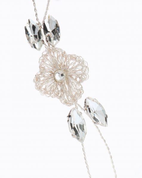 Copricapo da sposa gioiello in argento. Con fiori e cristallo. Collezione ROSA CLARA COUTURE 2020.