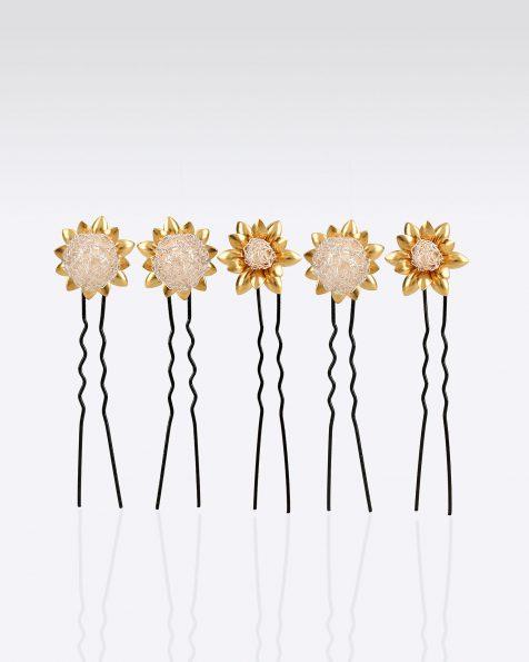 Horquilla joya de novia de plata, 5 unidades. Con hojitas en metal. Colección ROSA CLARA COUTURE 2020.