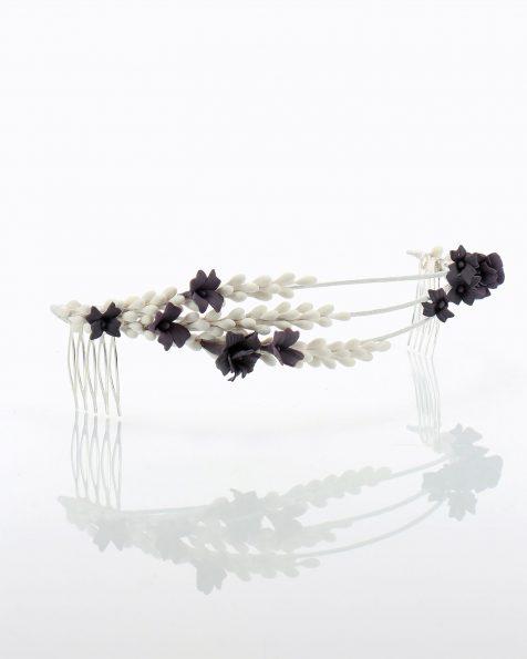 Corona da sposa con nastri, pistilli e foglie di porcellana. Collezione ROSA CLARA COUTURE 2020.