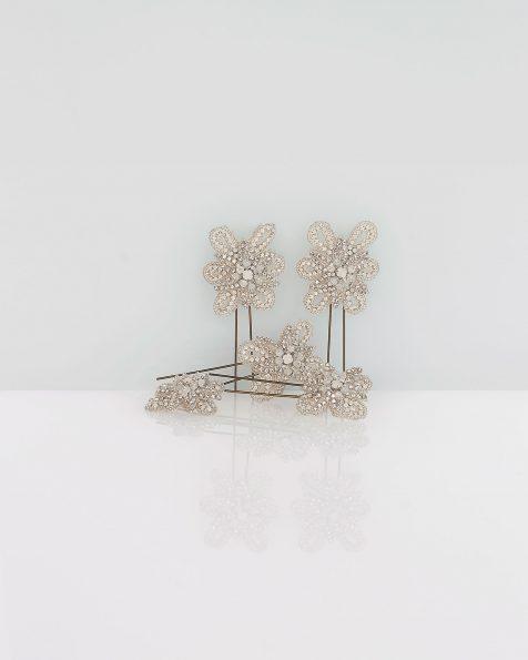 Spillone da sposa in strass, 5 pz., colore argento. Collezione ROSA CLARA COUTURE 2020.