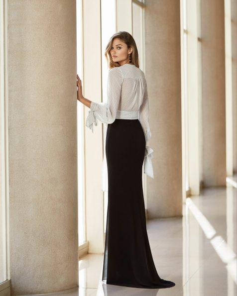 Blusa y falda de fiesta en georgette elástico con encaje en el cuerpo. Escote cruzado con lazo en la cintura y mangas largas tipo globo. Colección ROSA CLARA COCKTAIL 2020.