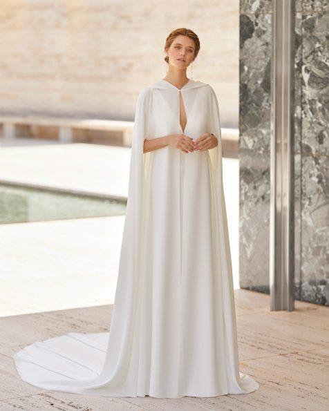 Mantella da sposa in crêpe. Con orli a giorno decorativi. Collezione ROSA CLARA COUTURE 2021.