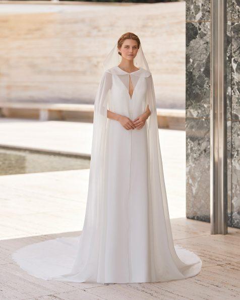 .2021 مجموعة فساتين ROSA CLARA COUTURE كاب للعروس من الكريب جورجيت. مع تفاصيل بالتطريز التنسيلي.
