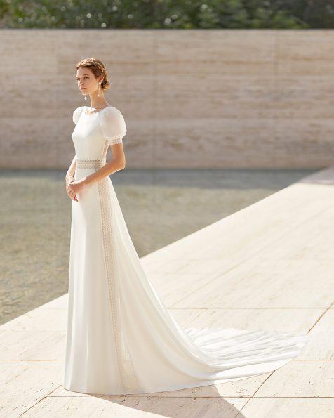 .2021 مجموعة فساتين ROSA CLARA COUTURE فستان زفاف خفيف من الكريب والدانتيل. ذو تقويرة دائرية وفتحة ظهر كبيرة على شكل