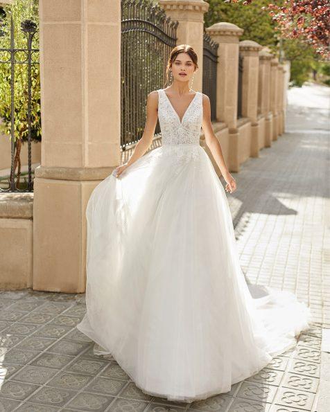 .2021 مجموعة فساتين ROSA CLARA فستان زفاف ذو تصميم للأميرات من التل المنقط والدانتيل المزيّن بالخرز. ذو تقويرة على شكل
