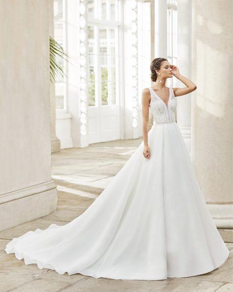 .2021 مجموعة فساتين ROSA CLARA فستان زفاف ذو تصميم كلاسيكي من الغازار والدانتيل مع تقويرة على شكل