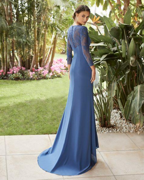 .2021 مجموعة فساتين ROSA CLARA COCKTAIL فستان سهرة من الكريب جورجيت. ذو تقويرة على شكل