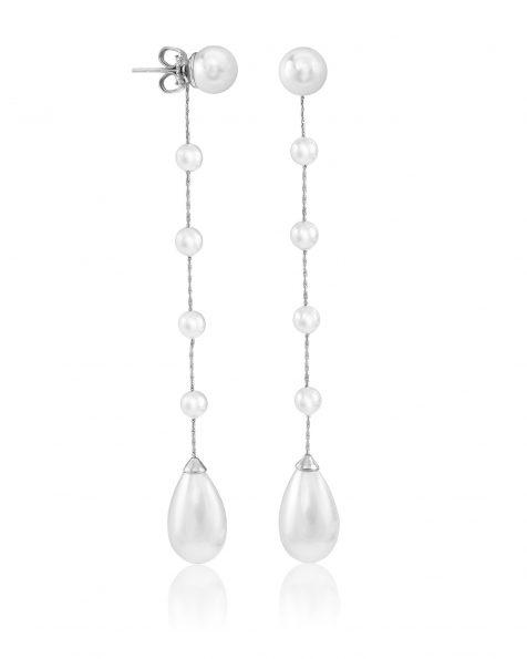 Boucles d'oreilles de mariée de 9cm de long en argent rhodié et perles rondes. Avec fermoir poussette belge. Collection ROSA CLARA COUTURE 2022.