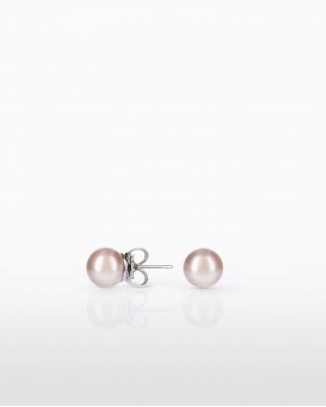 Petites boucles d'oreilles rondes avec pique en argent rhodié, 8mm perles rondes. Collection ROSA CLARA COUTURE 2022.
