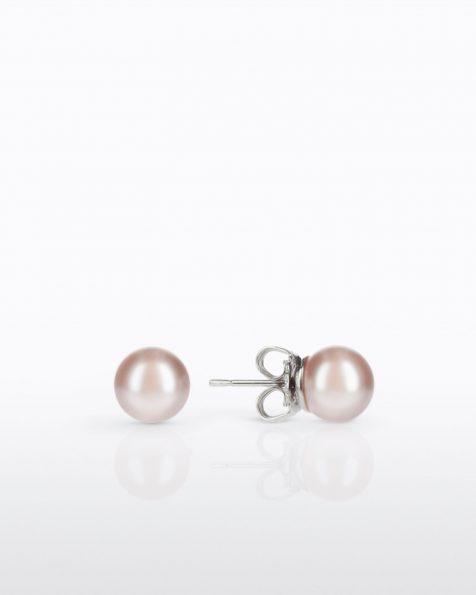 Petites boucles d'oreilles rondes avec pique en argent rhodié, 10mm perles rondes. Collection ROSA CLARA COUTURE 2022.
