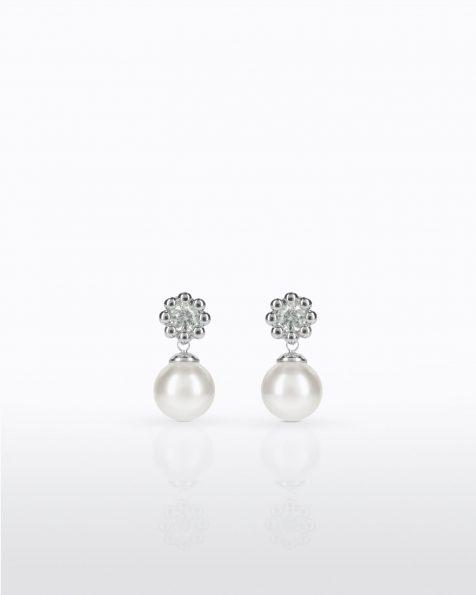 Boucles d'oreilles courtes avec pique en argent rhodié, 10mm perles rondes blanches et zirconites Collection ROSA CLARA COUTURE 2022.